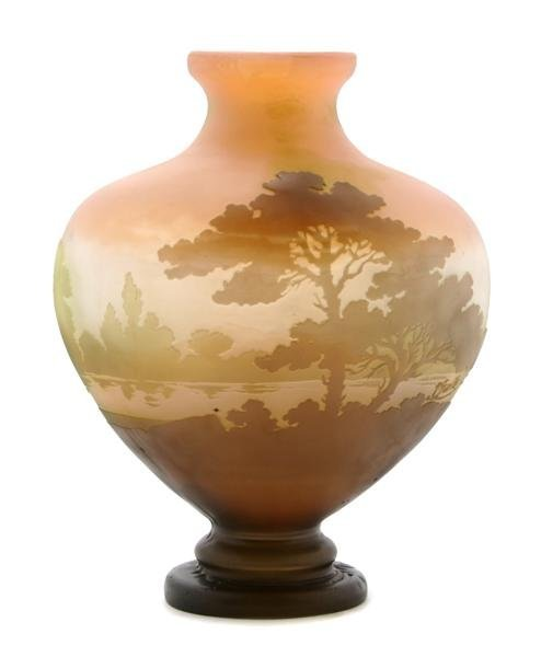 17: A Galle Cameo Glass Vase, Height 8 inches.
