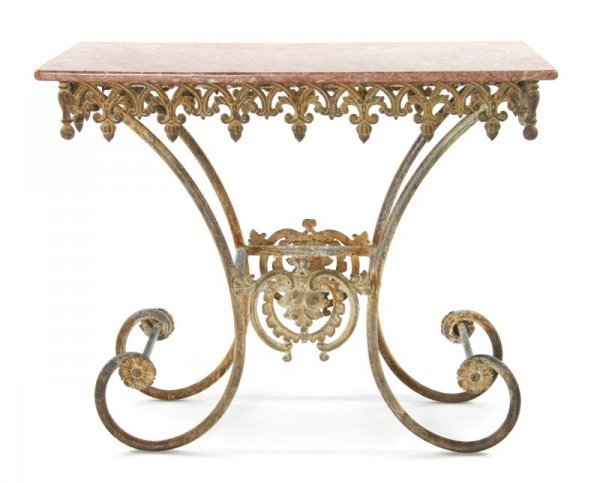 394: A French Iron and Marble Pastry Table, Height 34 3