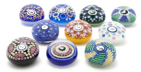 631: A Group of Ten Milefiori Glass Paperweights, Bacca