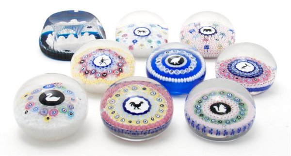632: A Group of Eight Milefiori Glass Paperweights, Bac
