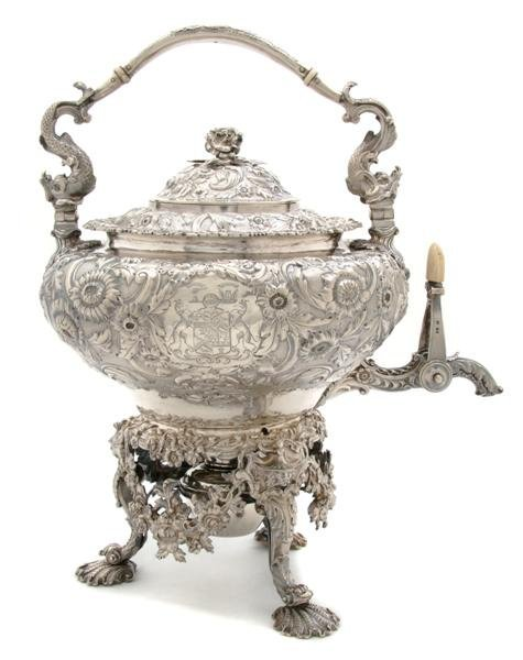 712: A George IV Hot Water Kettle on Stand, Paul Storr,