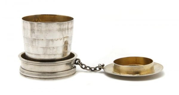 717: An English Sterling Collapsible Cup, Sampson Morda