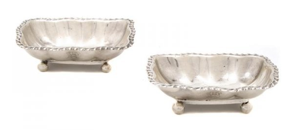 721: A Pair of English Silver Salts, Width 3 5/8 inches