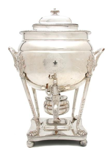 721A: An English Silverplate Hot Water Kettle on Stand,
