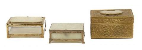 951 A Group of Three Jade Inset Boxes Width of larges