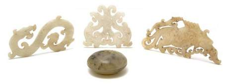 967 A Group of Four Chinese Carved Jade Articles Leng