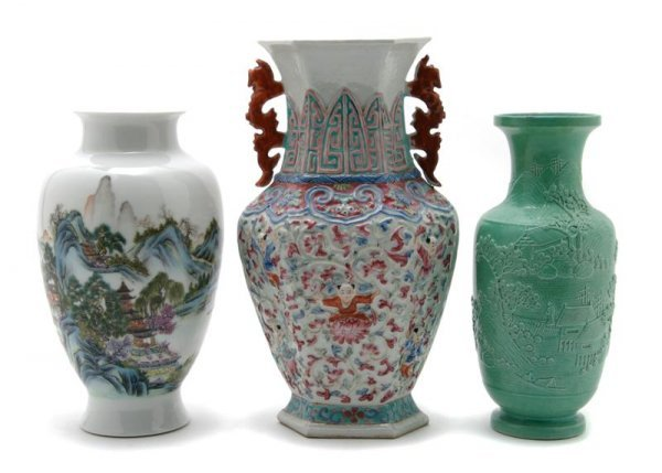 1077: A Group of Three Chinese Vases, Height of tallest