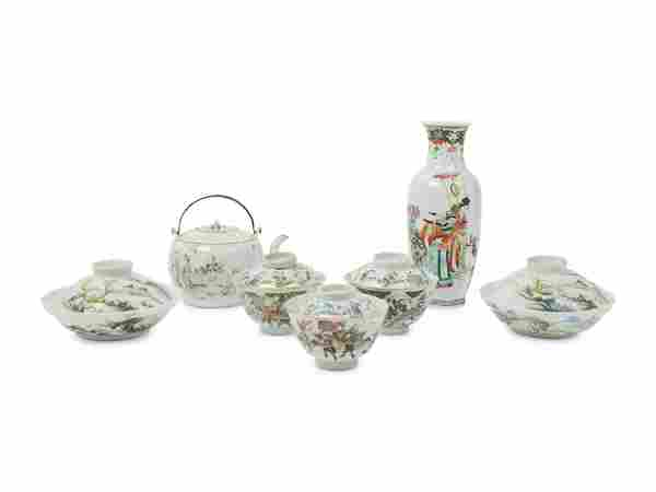 Seven Chinese Famille Rose Porcelain Articles