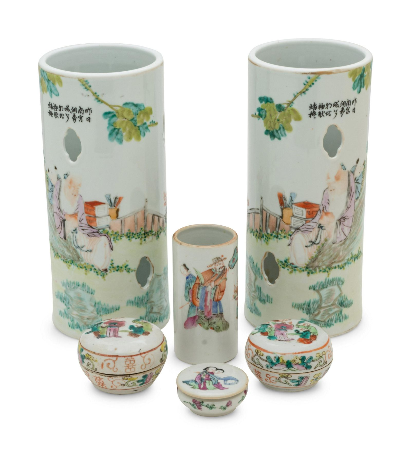 Six Chinese Famille Rose Porcelain Articles