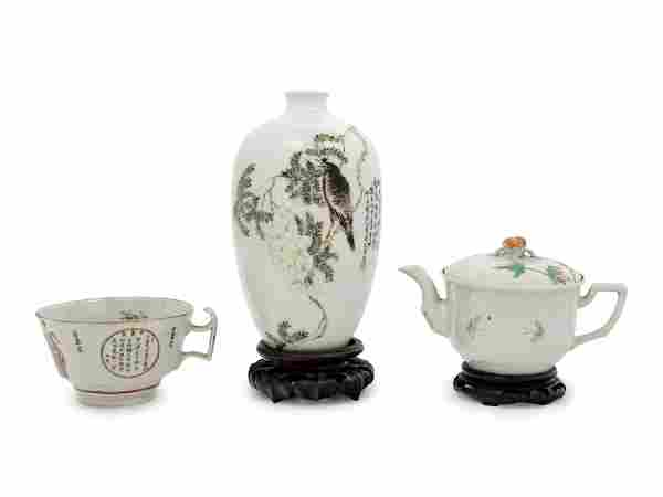 Three Chinese Famille Rose Porcelain Articles