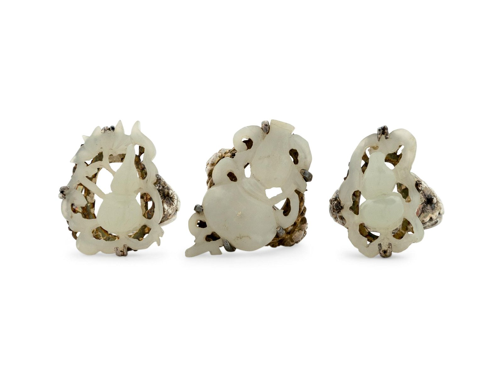 Three Chinese White Jade Inset Silver Rings