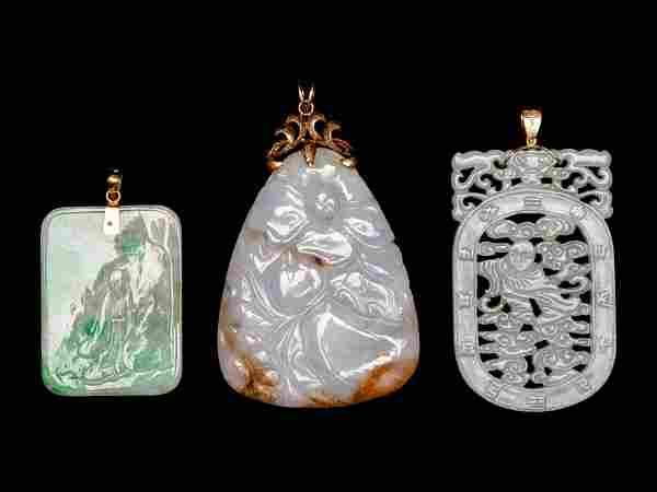 Three Chinese Jade and Jadeite Pendants