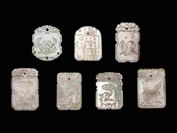 Seven Chinese Celadon Jade Carved Plaques