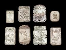 Eight Chinese Carved Celadon Jade Plaques
