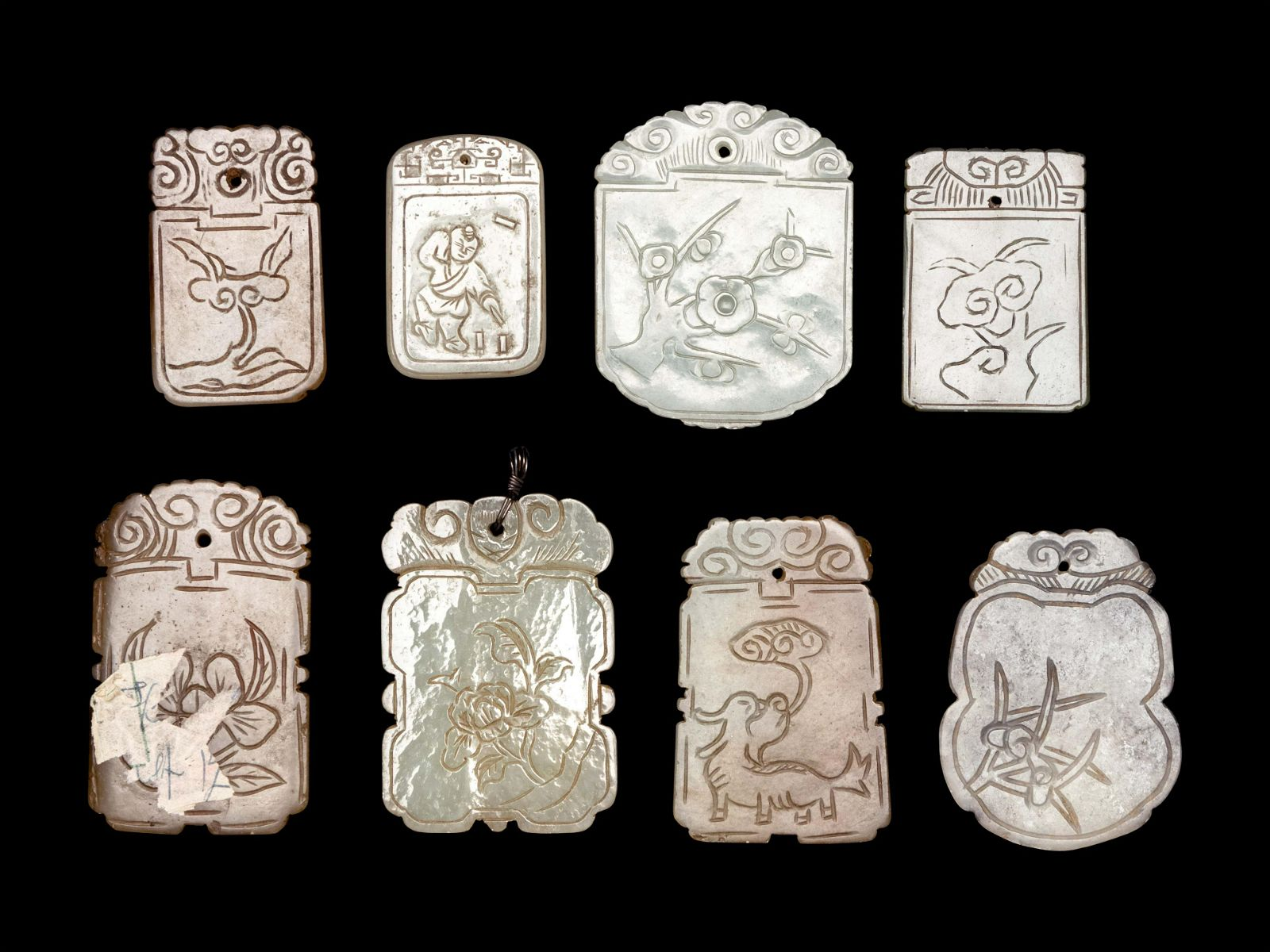 Eight Chinese Celadon Jade Carved Plaques
