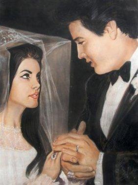127: An Original Pastel Wedding Portrait of Elvis and P