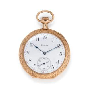 ELGIN, 14K YELLOW GOLD OPEN FACE POCKET WATCH WITH