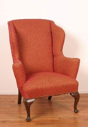 A Queen Anne Style Wingback Armchair,