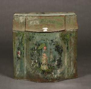 A Tole Painted Tin Coal Hod, Height 24 x width 24 x