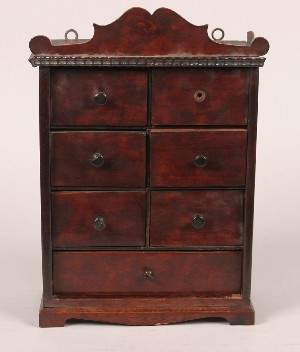 A Mahogany Jewelry Chest, Height 15 1/2 x width 11
