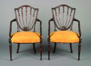 12: A Pair of Hepplewhite Style Armchairs,