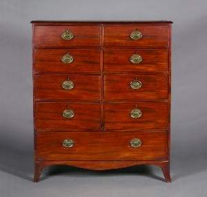 A George III Mahogany Chest of Drawers, Height 54 x