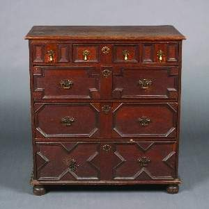 A Charles II Oak Chest of Drawers, Height 39 1/4 x