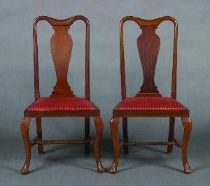 A Set of Four Queen Anne Style Walnut Side Chairs,