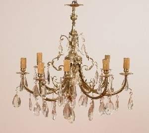 An Eight Light Brass Chandelier, Height of standard
