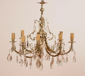 17: An Eight Light Brass Chandelier, Height of standard