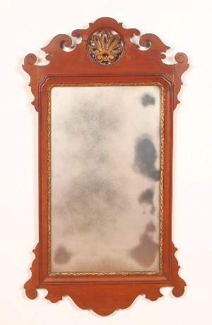 A Chippendale Style Mirror, Height 39 x width 21 1/