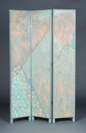 140: A Three Panel Canvas Floor Screen, Height 72 x wid