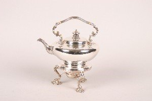 327: An English Silverplate Kettle on Stand.