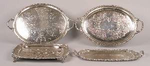 A Collection of Four Silver Plate Trays,