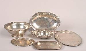 A Collection of Silver Bowls and Trays,