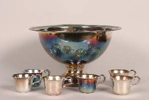 A Silver Plate Punch Bowl Set, Height of punch bow