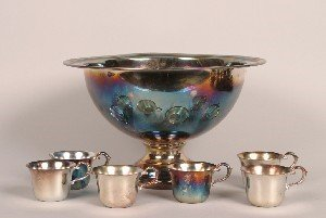 339: A Silver Plate Punch Bowl Set, Height of punch bow