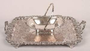 A Silver Plate Basket, Length of basket 13 inches.