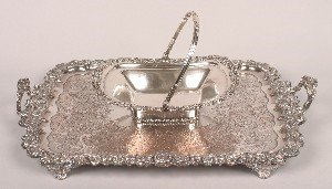 346: A Silver Plate Basket, Length of basket 13 inches.