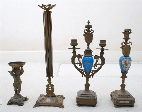 7: A Pair of Gilt Metal Candelabra, Height of first 15