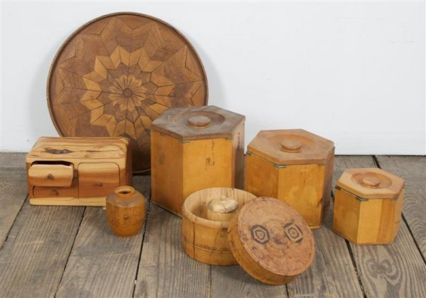 15: A Collection of Decorative Wood Vessels, Diameter o