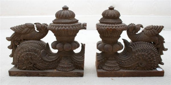 17: A Collection of Carved Wood Indian Objects, Height
