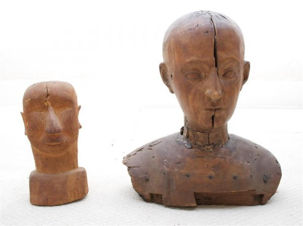 19: A Group of Two Wood Figural Busts, Height of talles