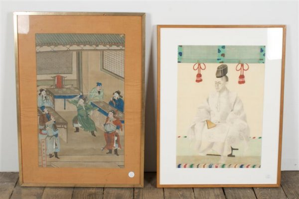 21: A Group of Two Framed Asian Decorative Works, Heigh