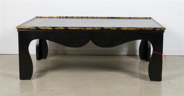 566: A Black Lacquer and Parcel Gilt Low Table, Height