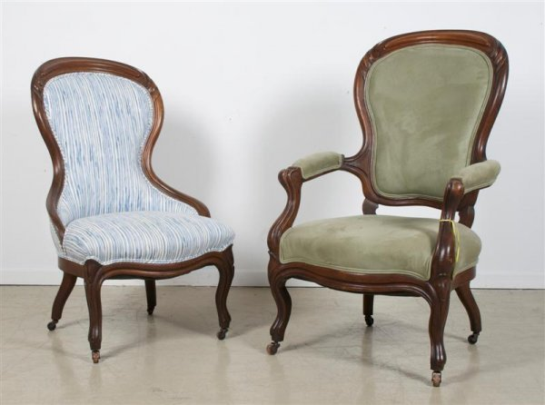 570: A Group of Two Victorian Chairs, Height of tallest
