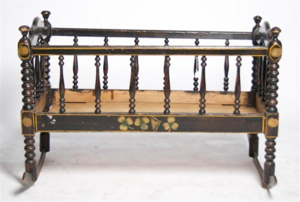 577: A Provincial Painted Cradle, Height 22 3/4 x width