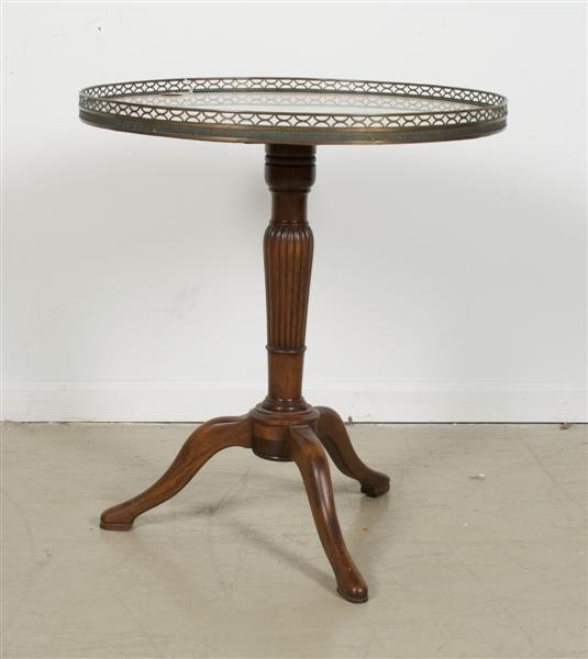 579: A Louis XVI Style Marble Top Occasional Table,