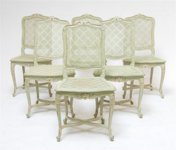 583: A Set of Six Louis XV Side Chairs, Height 38 inche