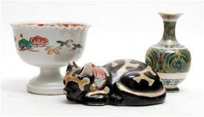 988 A Group of Three Japanese Ceramic Articles Height